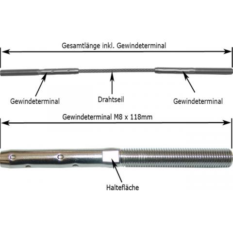 Gewindeterminal M8 X 57mm F R Seil 4mm Online